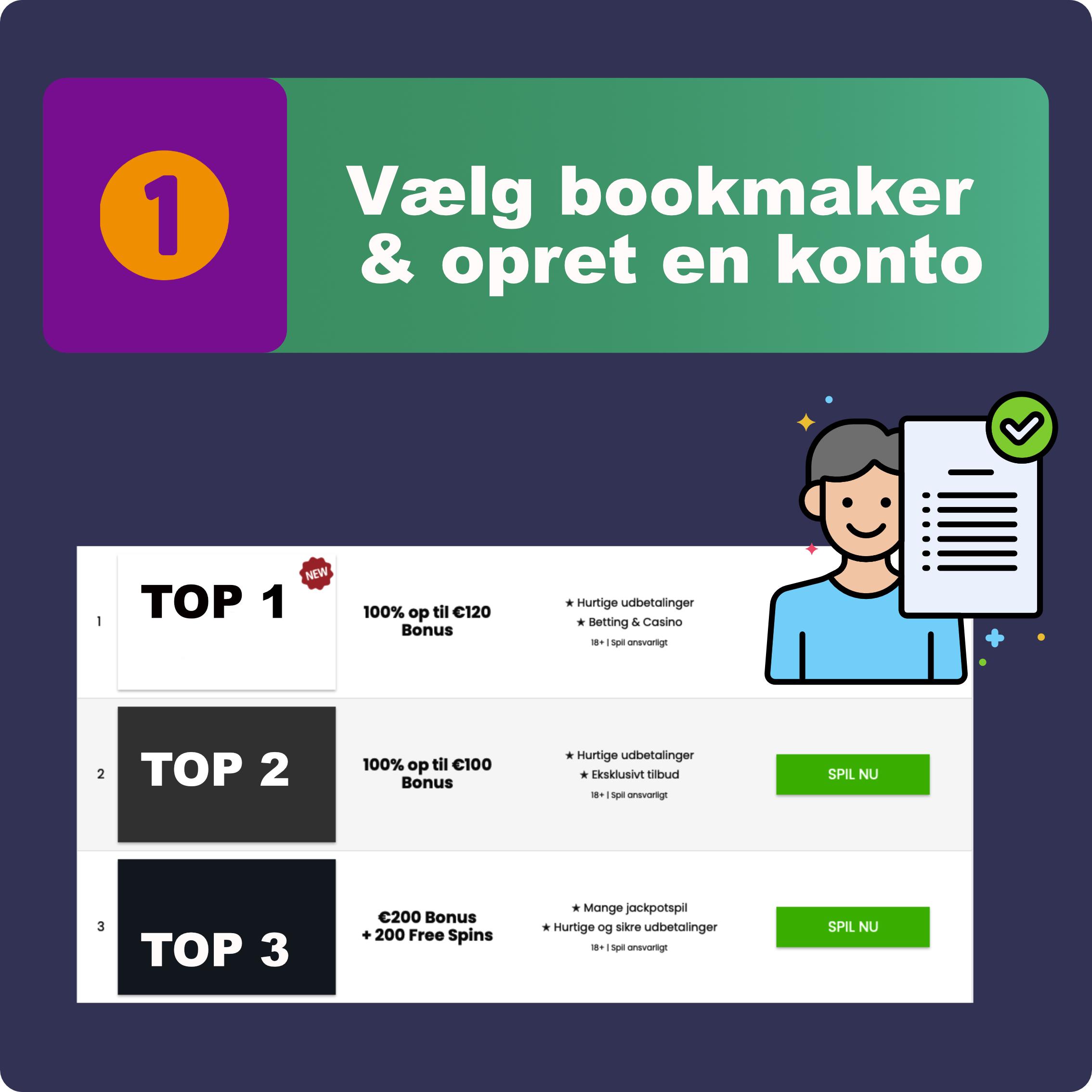 1. Vælg din bookmaker og opret en konto på få minutter